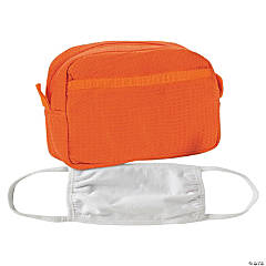 Orange Waffle Weave Makeup Bag