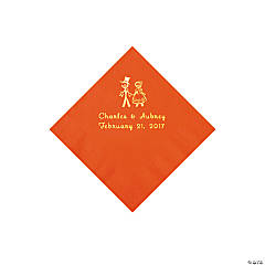 Orange Wedding Couple Personalized Napkins with Gold Foil - Beverage