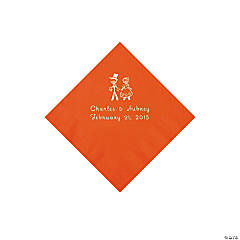 Orange Wedding Couple Personalized Napkins with Silver Foil - Beverage