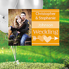 Orange Wedding Custom Photo Yard Sign
