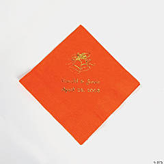 Orange Wedding Personalized Beverage Napkins with Gold Print