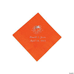 Orange Wedding Personalized Beverage Napkins with Silver