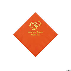 Orange Wedding Ring Personalized Napkins with Gold Foil - Beverage