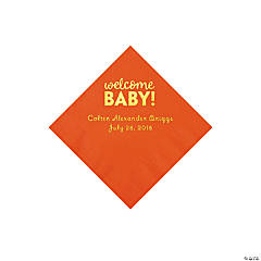 Orange Welcome Baby Personalized Napkins with Gold Foil - Beverage