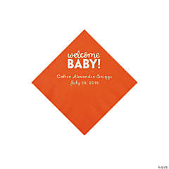 Orange Welcome Baby Personalized Napkins with Silver Foil - Beverage