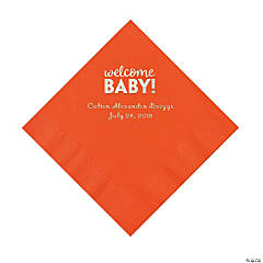 Orange Welcome Baby Personalized Napkins with Silver Foil – Luncheon