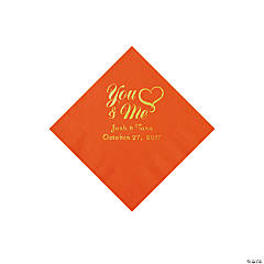 Orange You & Me Heart Personalized Napkins with Gold Foil - Beverage