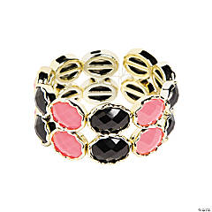Oval Pink & Black Bracelet Craft Kit