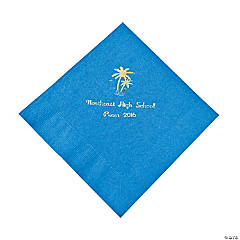 Palm Tree Blue Personalized Luncheon Napkins with Gold Print