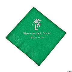 Palm Tree Green Personalized Beverage Napkins with Silver Print