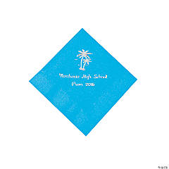 Palm Tree Turquoise Personalized Beverage Napkins with Silver Print