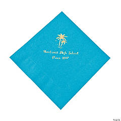 Palm Tree Turquoise Personalized Lunch Napkins with Gold Print