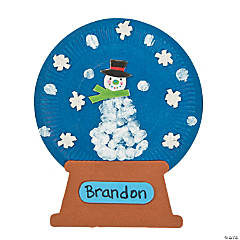 Paper Plate Snow Globe Thumbprint Sign Craft Kit