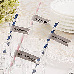 Paper Straws With Wedding Messages Idea