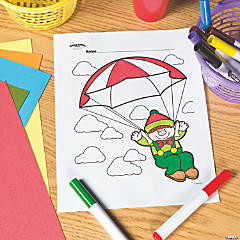 Parachute Elf Free Printable Coloring Page