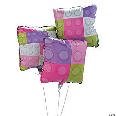 Pastel Color Brick Party Mylar Balloons