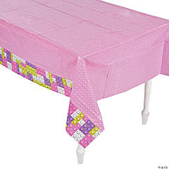 Pastel Color Brick Party Plastic Tablecloth