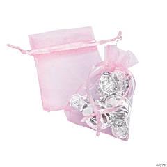 Pastel Pink Mini Organza Drawstring Bags