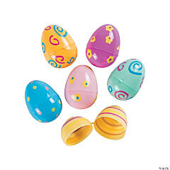 Pastel Printed Plastic Easter Eggs - 72 Pc.