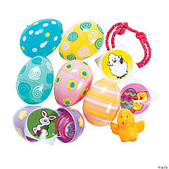 Pastel Toy-Filled Patterned Plastic Easter Eggs - 24 Pc.