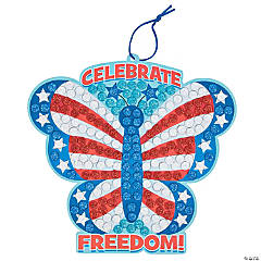 Patriotic Butterfly Sign Glitter Mosaic Craft Kit