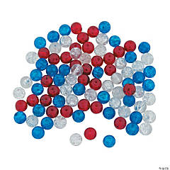 Patriotic Crushed Glass Beads - 8mm