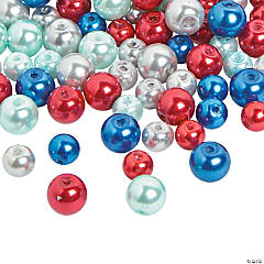 Patriotic Pearl Bead Assortment - 6mm-8mm