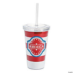 Patriotic Plastic Tumbler with Straw