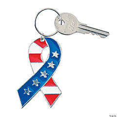 Patriotic Ribbon Enamel Key Chains