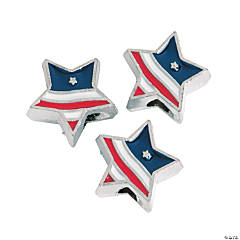 Patriotic Star-Shaped Large Hole Beads