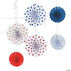 Patriotic Stars Hanging Paper Fan Decorations