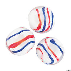 Patriotic Swirl Flat Round Beads - 20mm