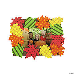 Patterned Fall Leaves Picture Frame Magnet Craft Kit - Makes 12