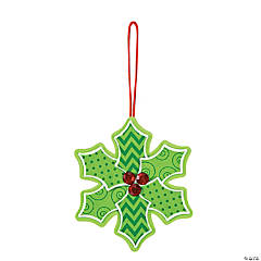 Patterned Holly Christmas Ornament Craft Kit