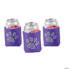 Paw Print Bling Purple Can Coolers