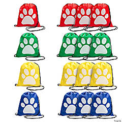 Paw Print Drawstring Backpacks