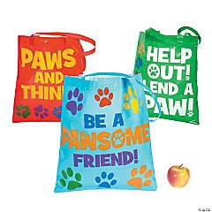 Paw Print Laminated Tote Bags