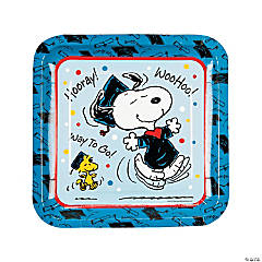 Peanuts® Graduation Square Paper Dinner Plates