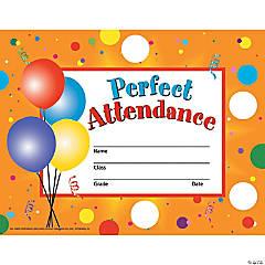 Perfect Attendance Certificates & Reward Seal Pack, 6 Packs