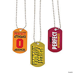 """Perfect Attendance"" Dog Tag Necklaces"