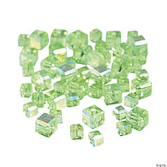 Peridot Cube AB Cut Crystal Beads - 4mm-6mm