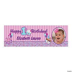 Personalized 1st Birthday Cupcake Custom Photo Banner