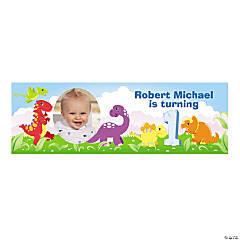 Personalized 1st Birthday Dinosaur Photo Banner