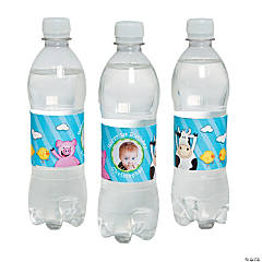 Personalized 1st Birthday Farm Party Photo Water Bottle Labels