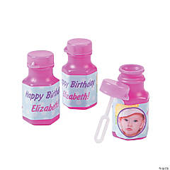 Personalized 1st Birthday Girl Custom Photo Mini Bubble Bottles