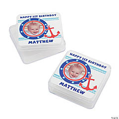 Personalized 1st Birthday Sailor Photo Square Favor Containers