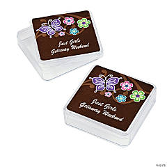 12 Personalized All Aflutter Brown Favor Boxes