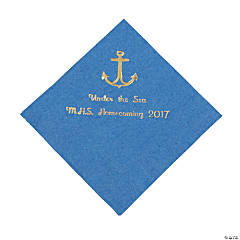 Personalized Anchor Blue Beverage Napkin