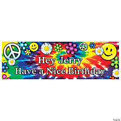 Personalized '60s Groovy Birthday Banner - Medium