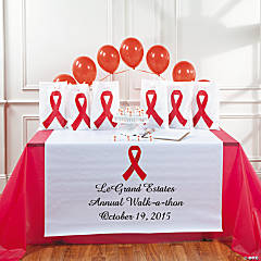 Personalized Awareness Red Ribbon Table Runner